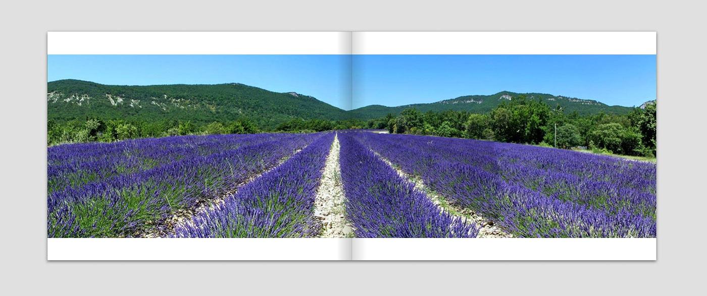 Panoramen im Fotobuch mit Platz für Beschriftung
