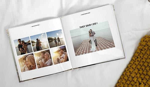 Fotoalbum mit Text