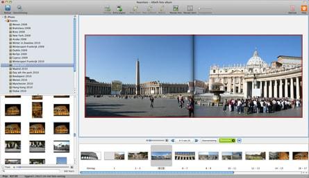 Ecran d'un ordi Mac avec une photo de la Place Saint Pierre à Rome et autre