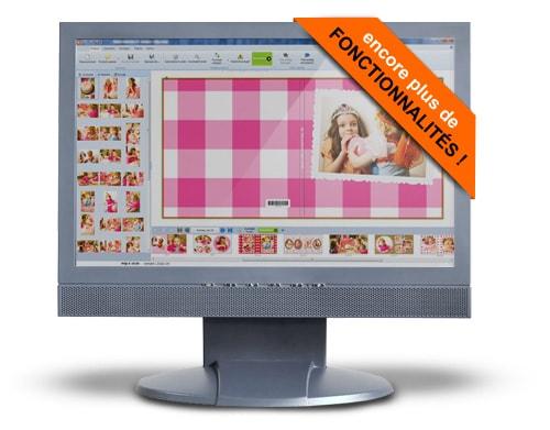 Ecran d'ordinateur avec une couverture de livre photo avec deux petites filles et des photos à gauche