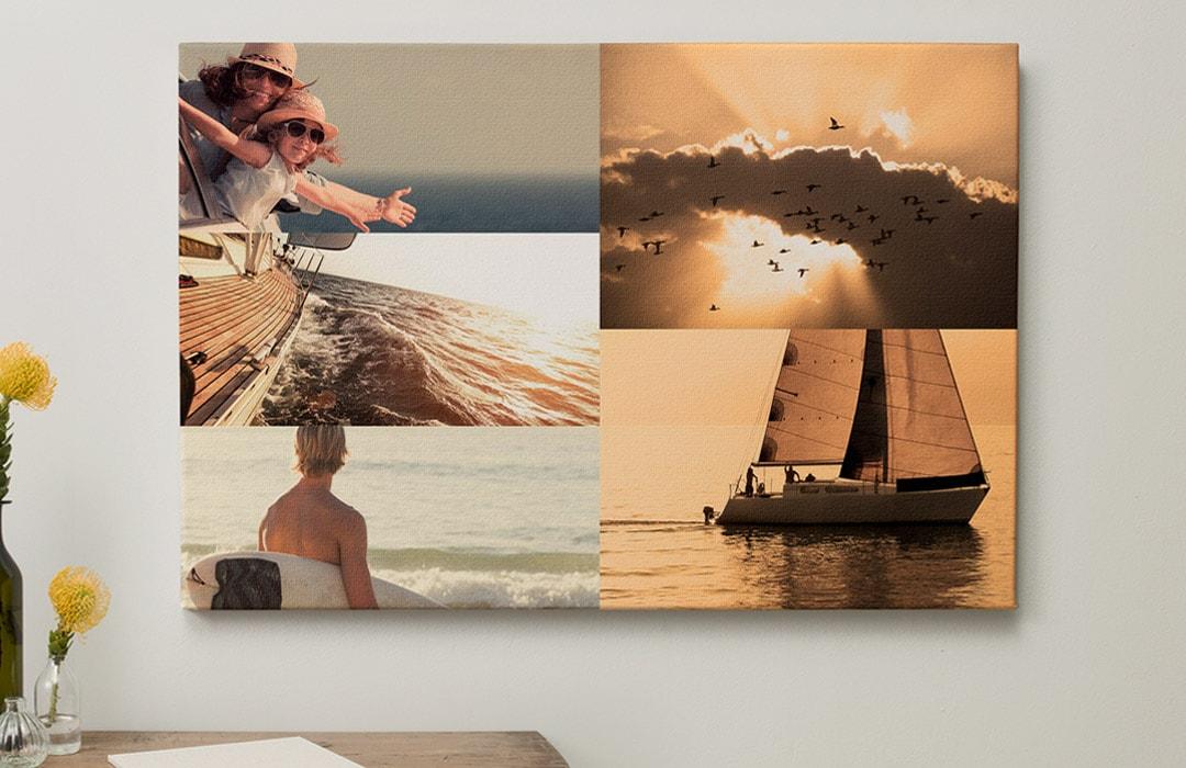 Pêle-mêle sur toile photo avec filtre sépia, sans espacement,