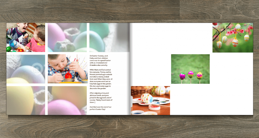 Photo book layout created using the Mosiac mask design option