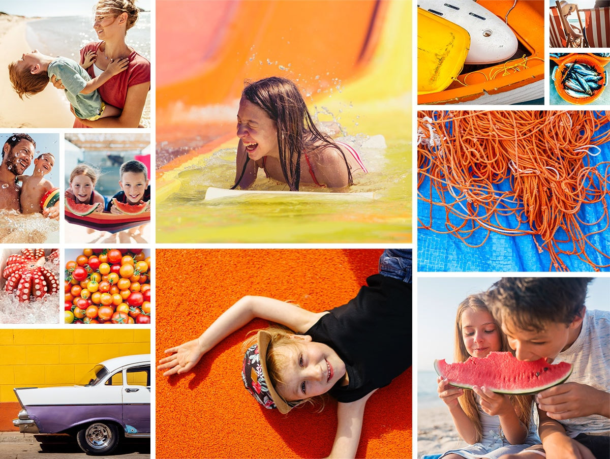 A mood board with lots of colourful summery pics of kids with their parents in the sunshine, kids eating watermelon, and bright photos of boats and fishing lines.