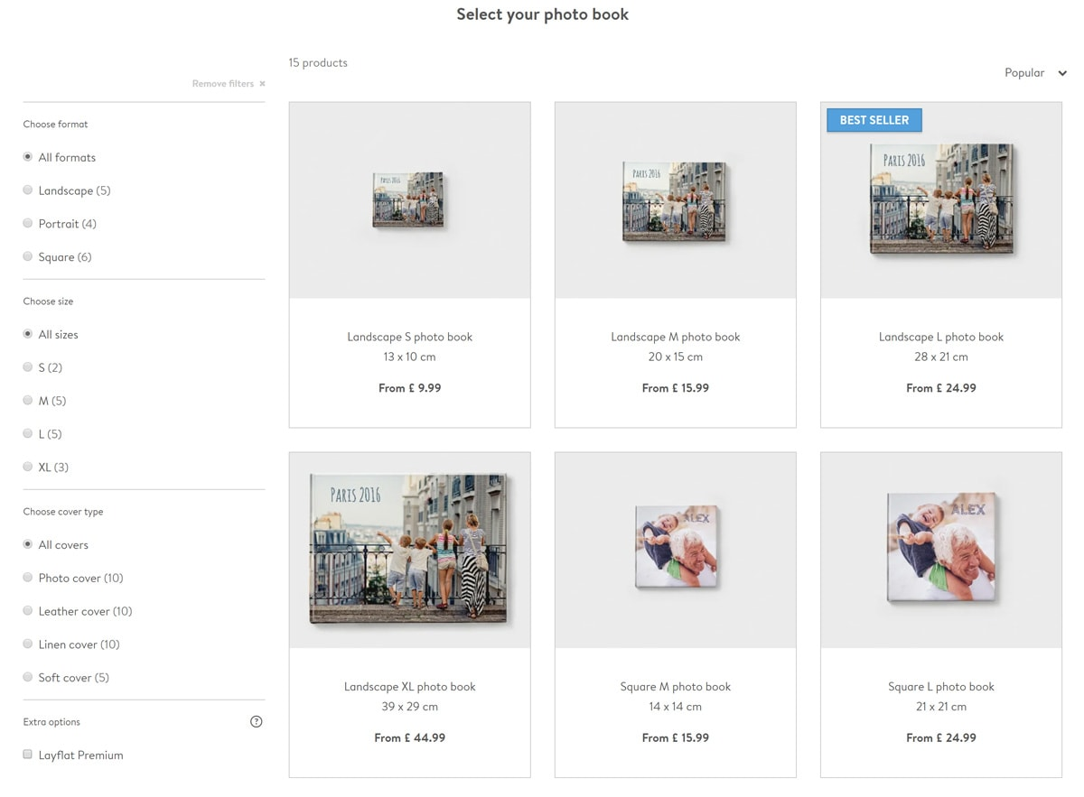 Screenshot of the bonusprint photo book creation process, showing the options of photo book sizes and available formats.