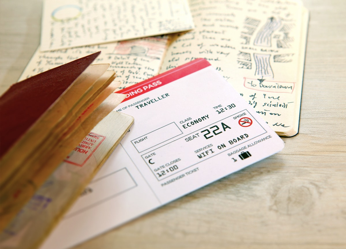 An old boarding pass, a passport and some diary pages on a wooden table.