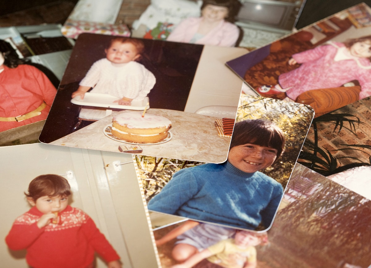 A small selection of old childhood photos in colour.