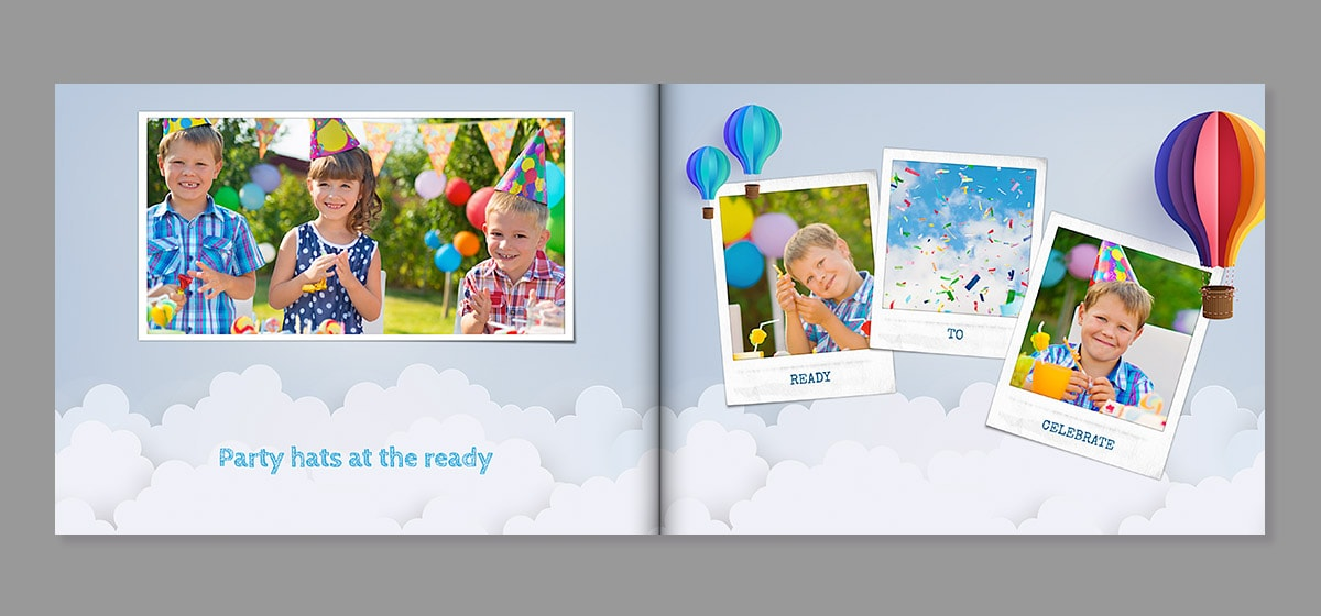 birthday photo book layout inspiration