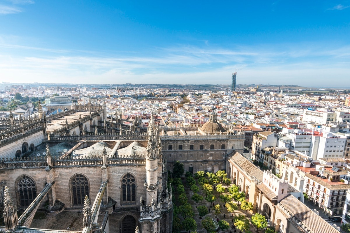 A photo of Seville, taken from up high, on a bright and sunny day.