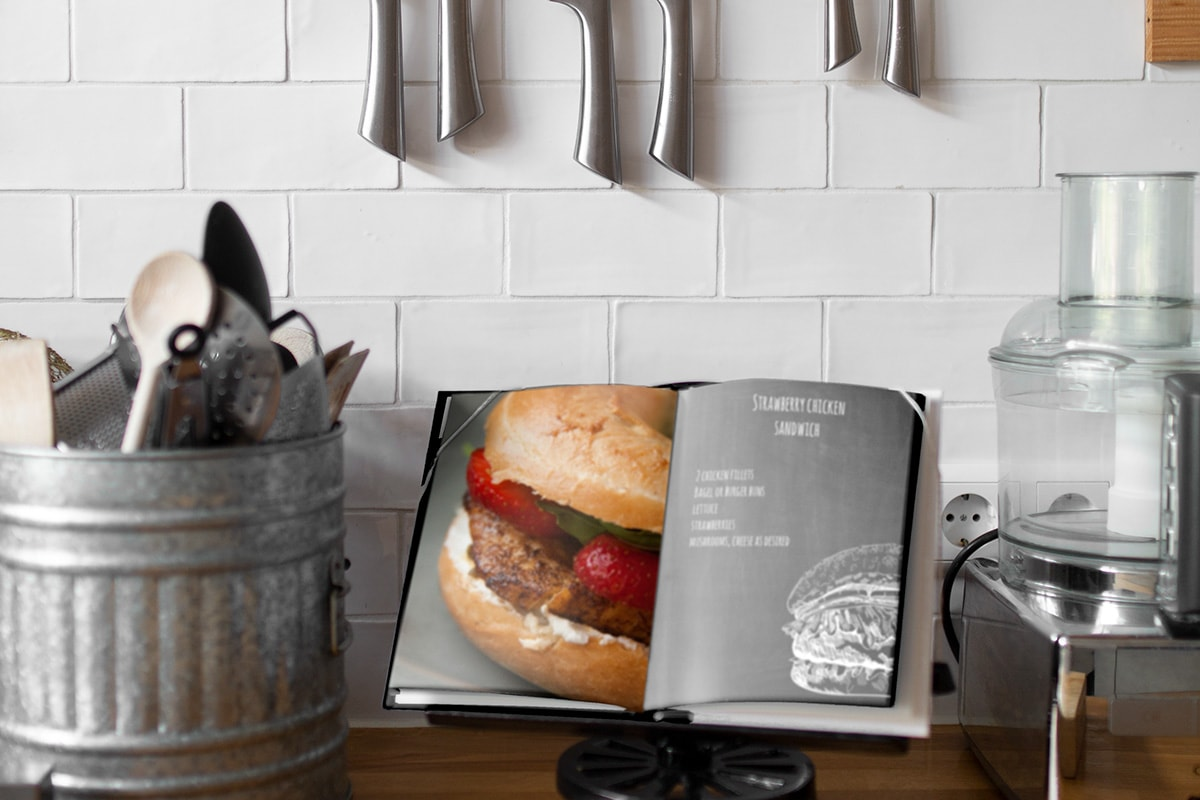 creative-ways-display-photo-books-cook-book-kitchen