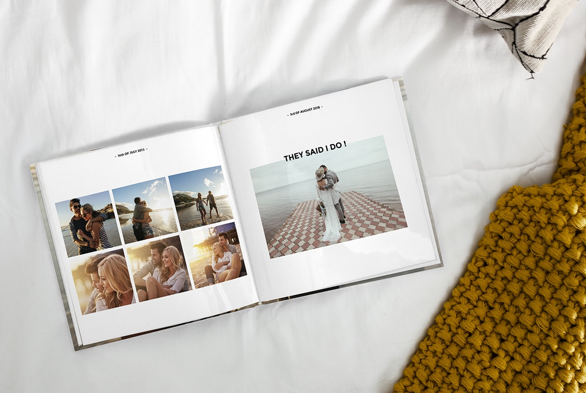 Photo book with family photos in chronological order