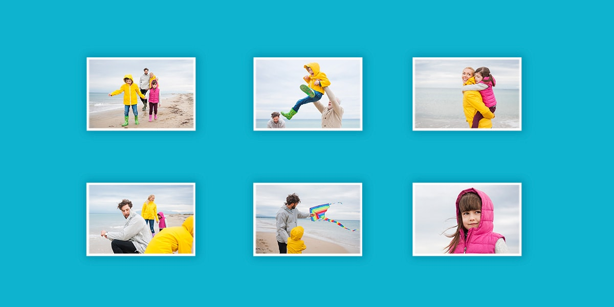 An illustration of an open image folder containing holiday photos of a family out on the beach.