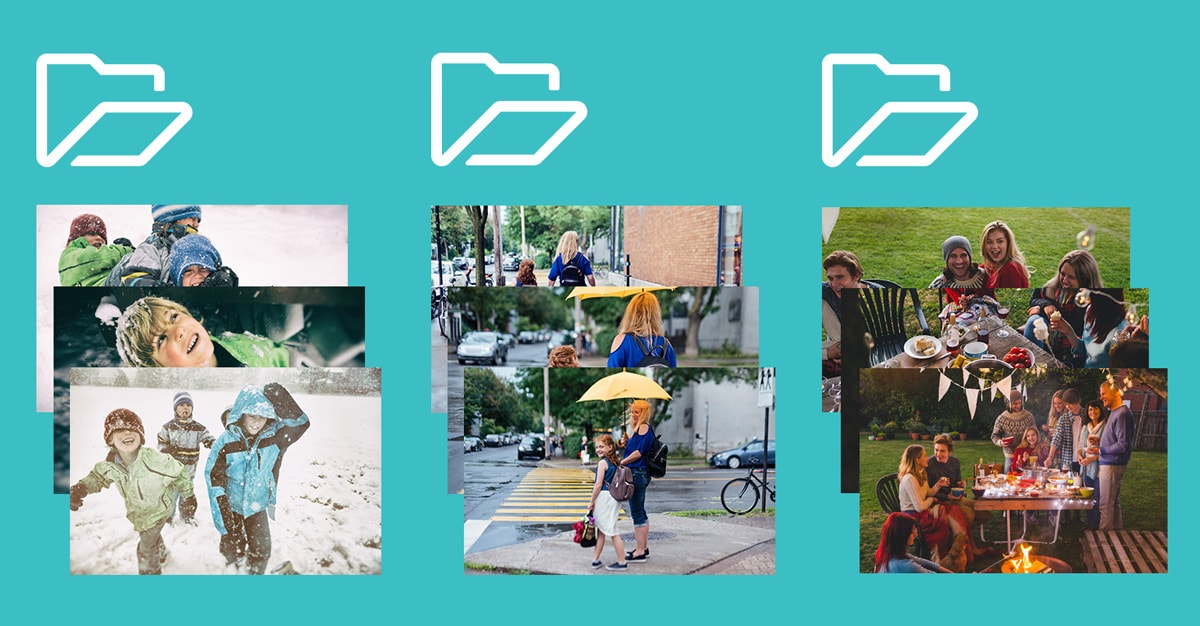 Nine photos against a teal background with three folder icons. The photos are sorted into snowy pictures, rainy day pictures and photos of a family BBQ.