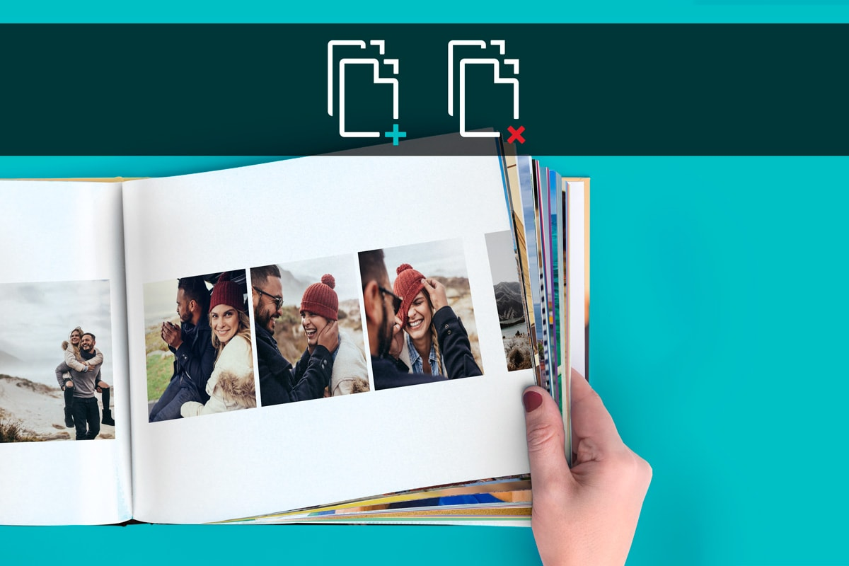 A photo book against a blue background with images of a couple inside. There's an 'add' and 'remove' icon in a black bar across the top of the image.
