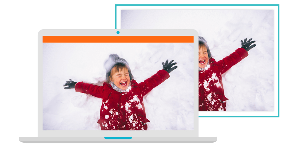 A graphic of an open laptop with a picture of a child playing in the snow on the screen. There's a copy of that image behind the laptop with a blue frame around it.