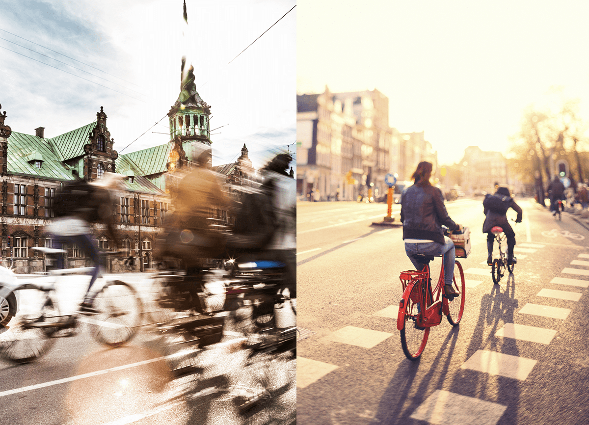 Two images of people cycling, side by side. The image on the left shows motion blur, the image on the right is more focused but the background is blurred. There's a diagram underneath to show which ISO value corresponds with each photo.