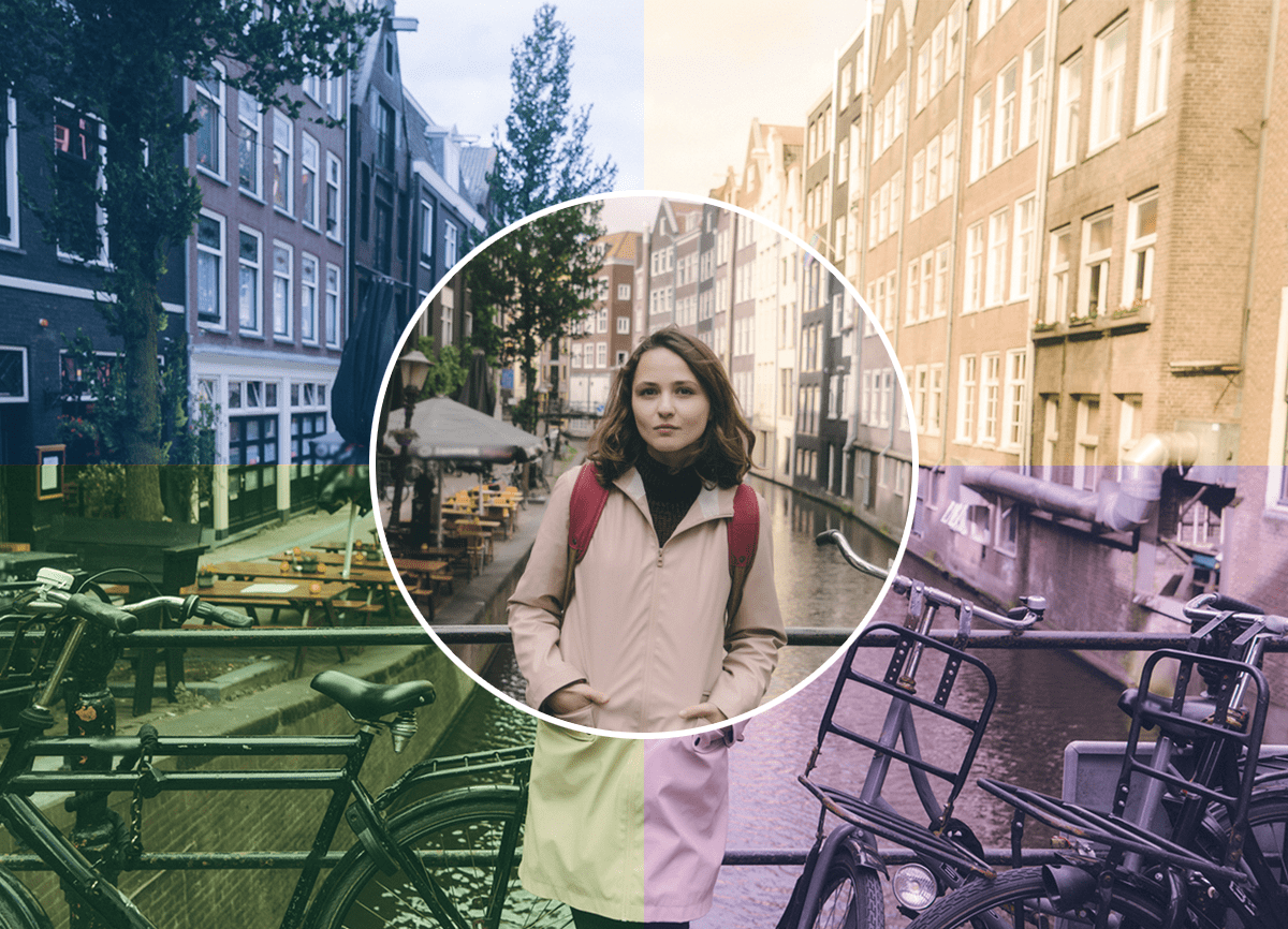 A photo of a woman on a bridge in Amsterdam. The photo shows how white balance can affect an image; it's split into four, with each quarter showing a different tone, there's a balanced section in the middle in a circle.