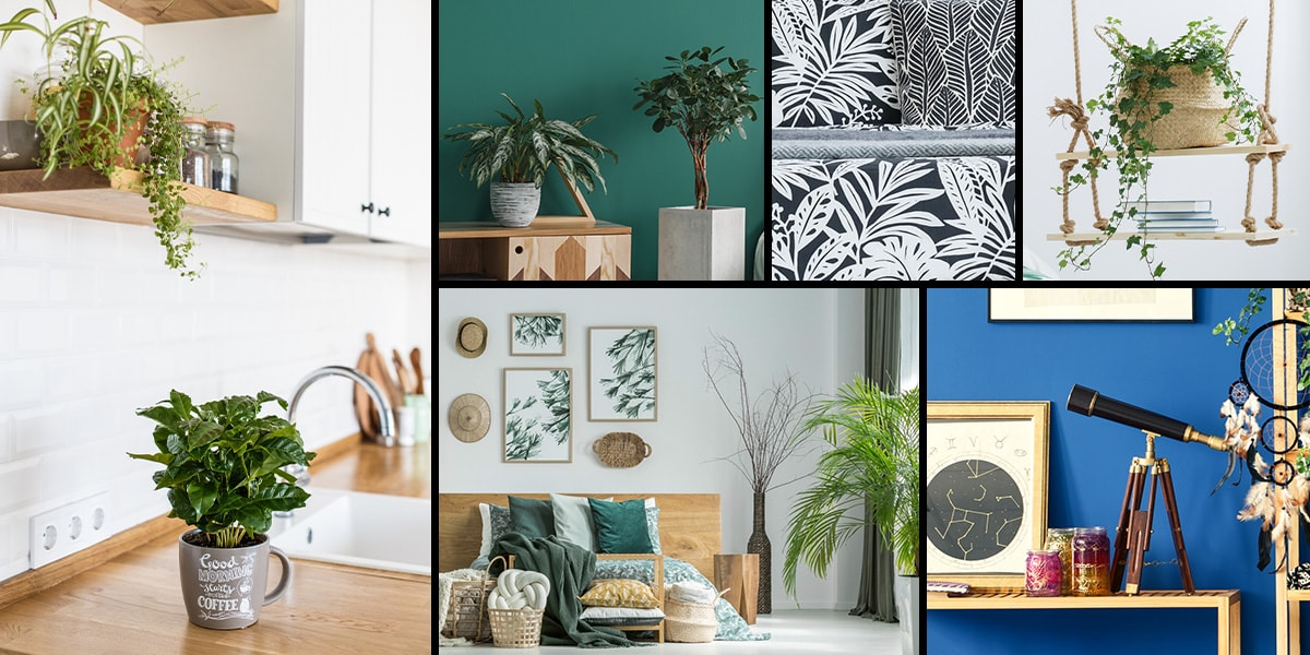 A photo grid of six images showing interior trends for spring 2019, with leafy patterns, earthy tones and house plants.