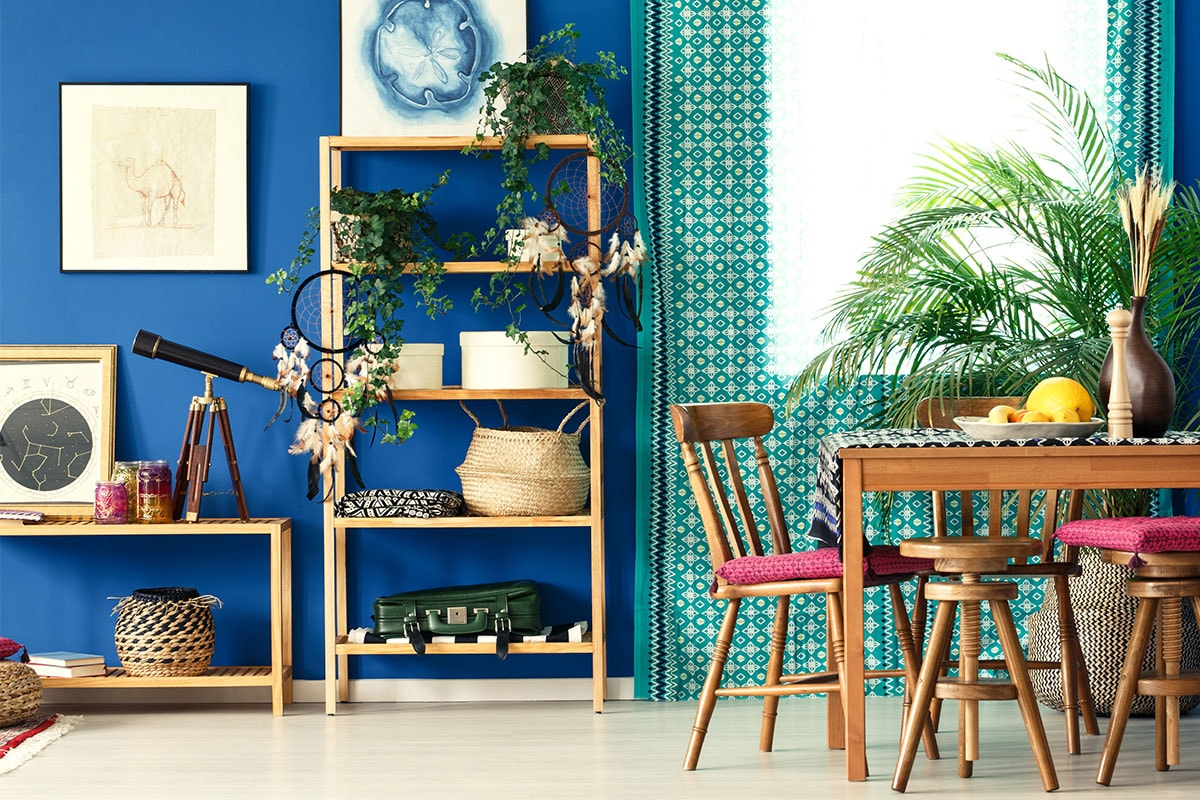 A photo of a room with a royal blue wall, natural pine shelves, leafy house plants on the shelves and on a table, with nature-inspired framed art work on the walls.