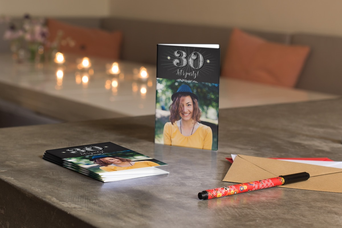Customised 30th birthday cards with a chalkboard design and a photo of a woman on the front