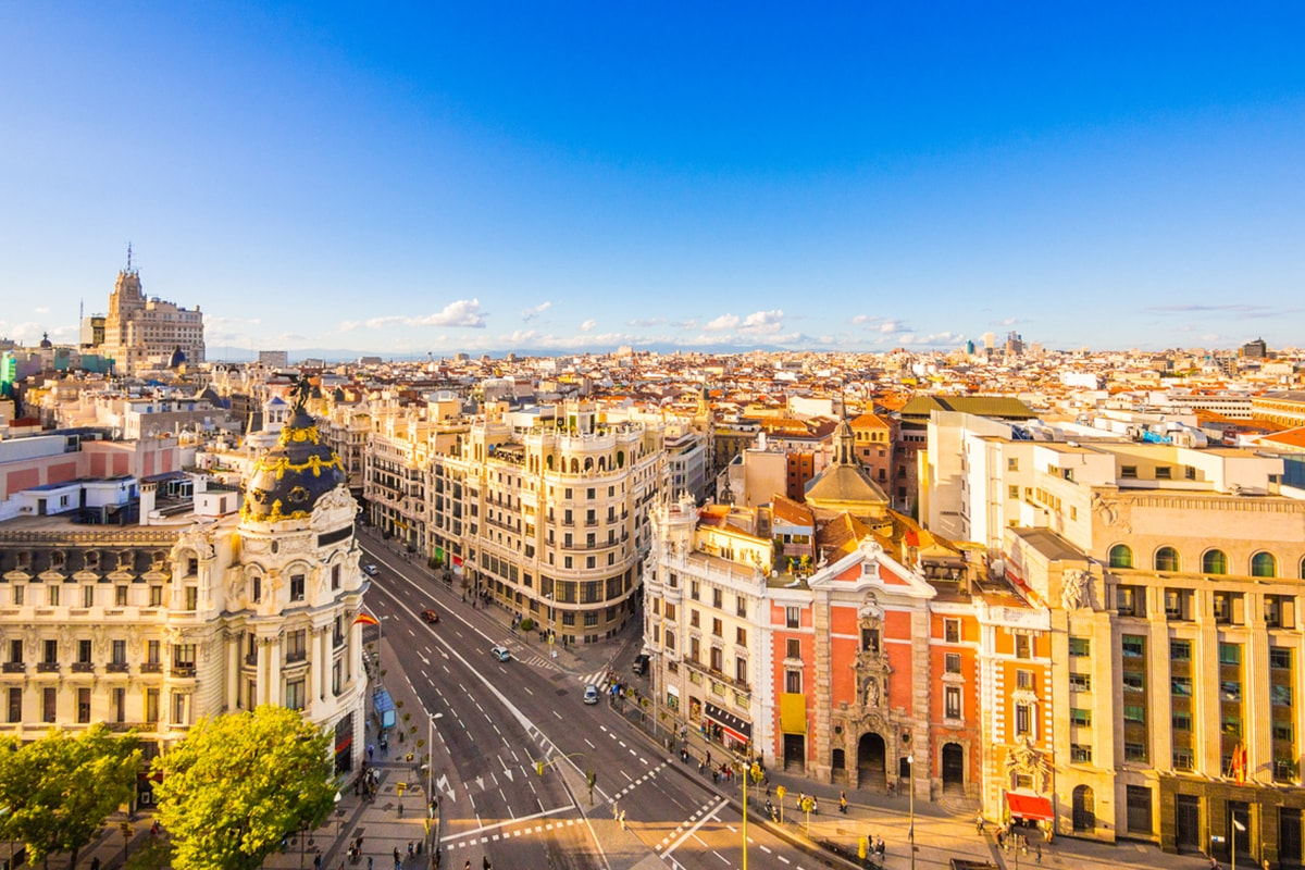 A photo of Madrid's skyline on a bright, sunny day.