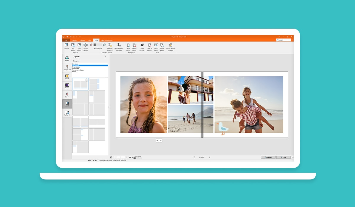 A screenshot of the bonusprint photo book editor, with photos selected, ready to add to a photo book.