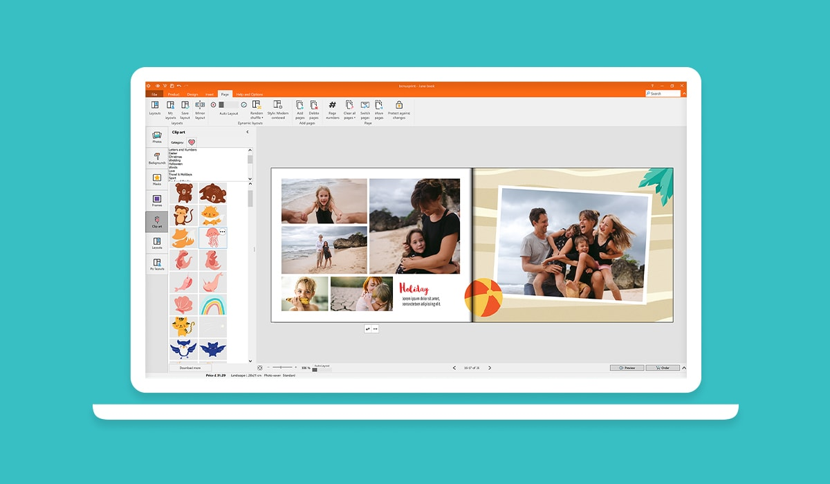 A screenshot of the bonusprint photo book editor creation process, showing clip art and design assets.