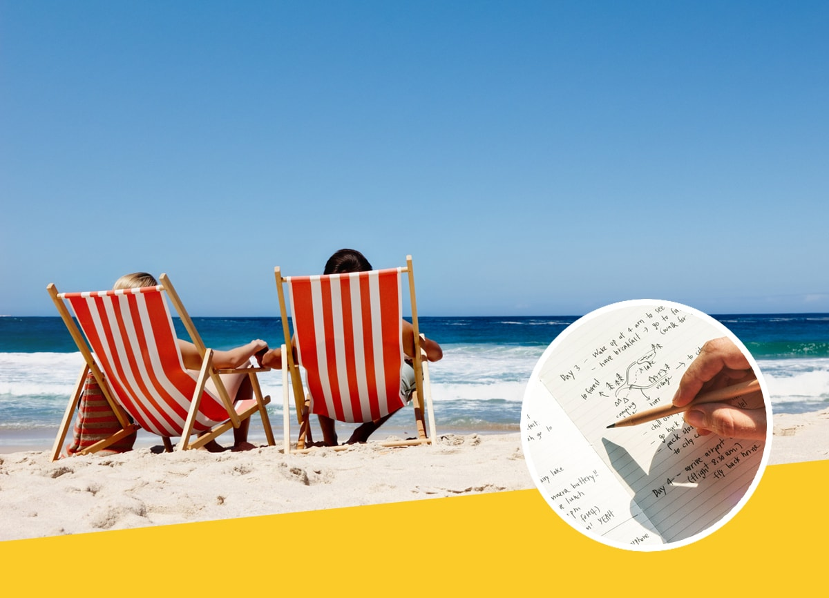 A couple sitting on a sunny beach in deckchairs, with a notebook being written in within a roundel.
