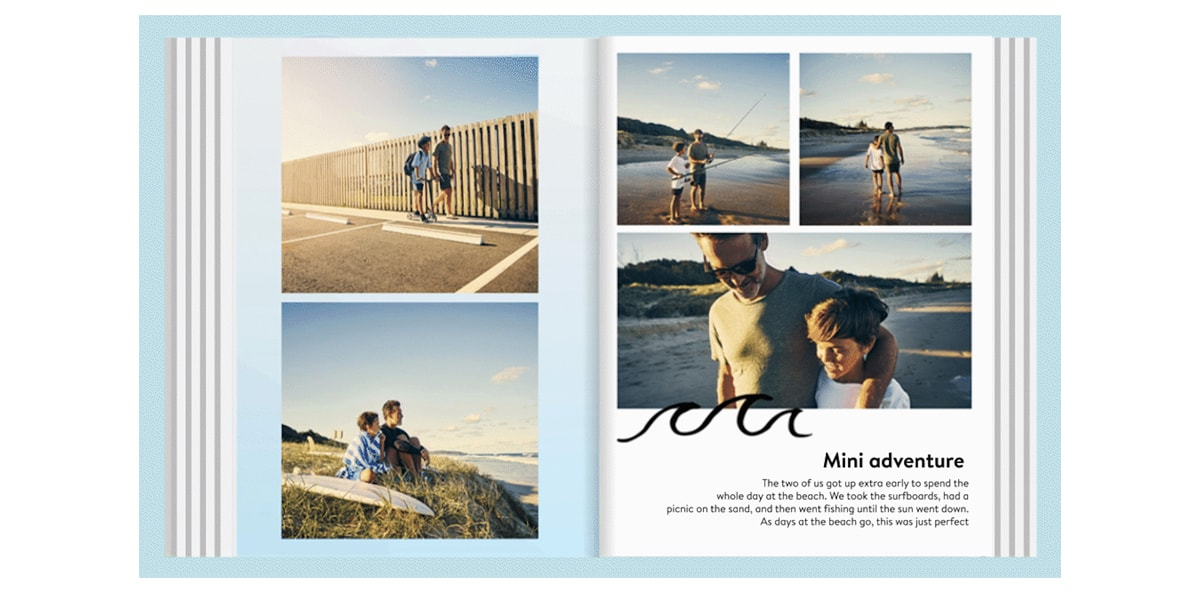 A gif of a photo book open with pictures of a man and his son at the beach, with animated text on the right-hand page.