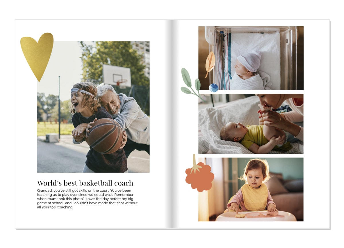 A photo book open on a double-page. On the left, there's a photo of a boy playing basketball with his grandad. The book has heart-shaped clip art and illustrations on the pages.