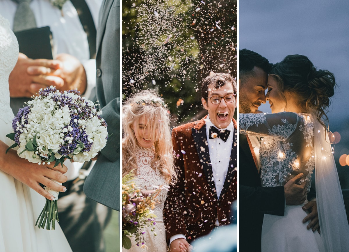 Three wedding photos side by side. The first is of a bride's hand holding a bouquet, facing her husband. The second is a bride and groom in a cloud of confetti. The third is the bride and groom dancing at night with fairy lights around them.