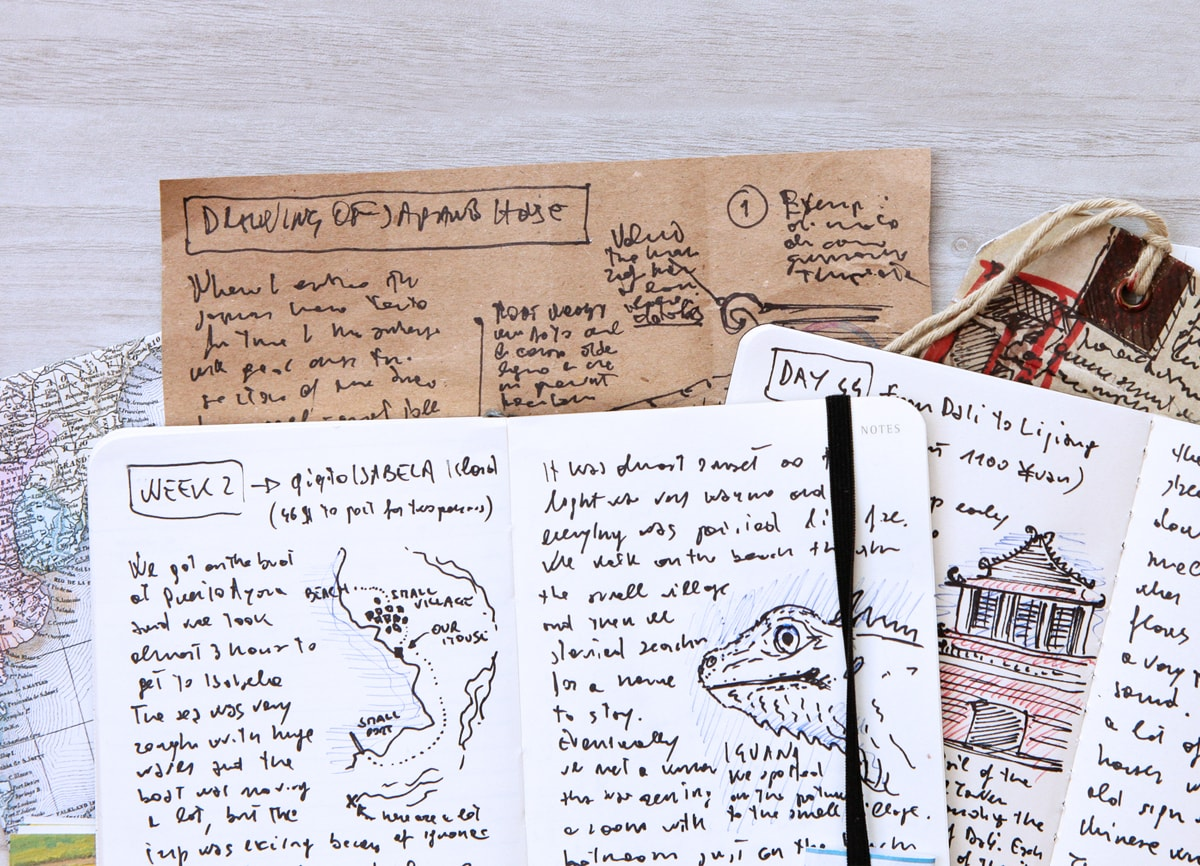 A photo of loose pages from a travel journal, with sketches and diary entries.