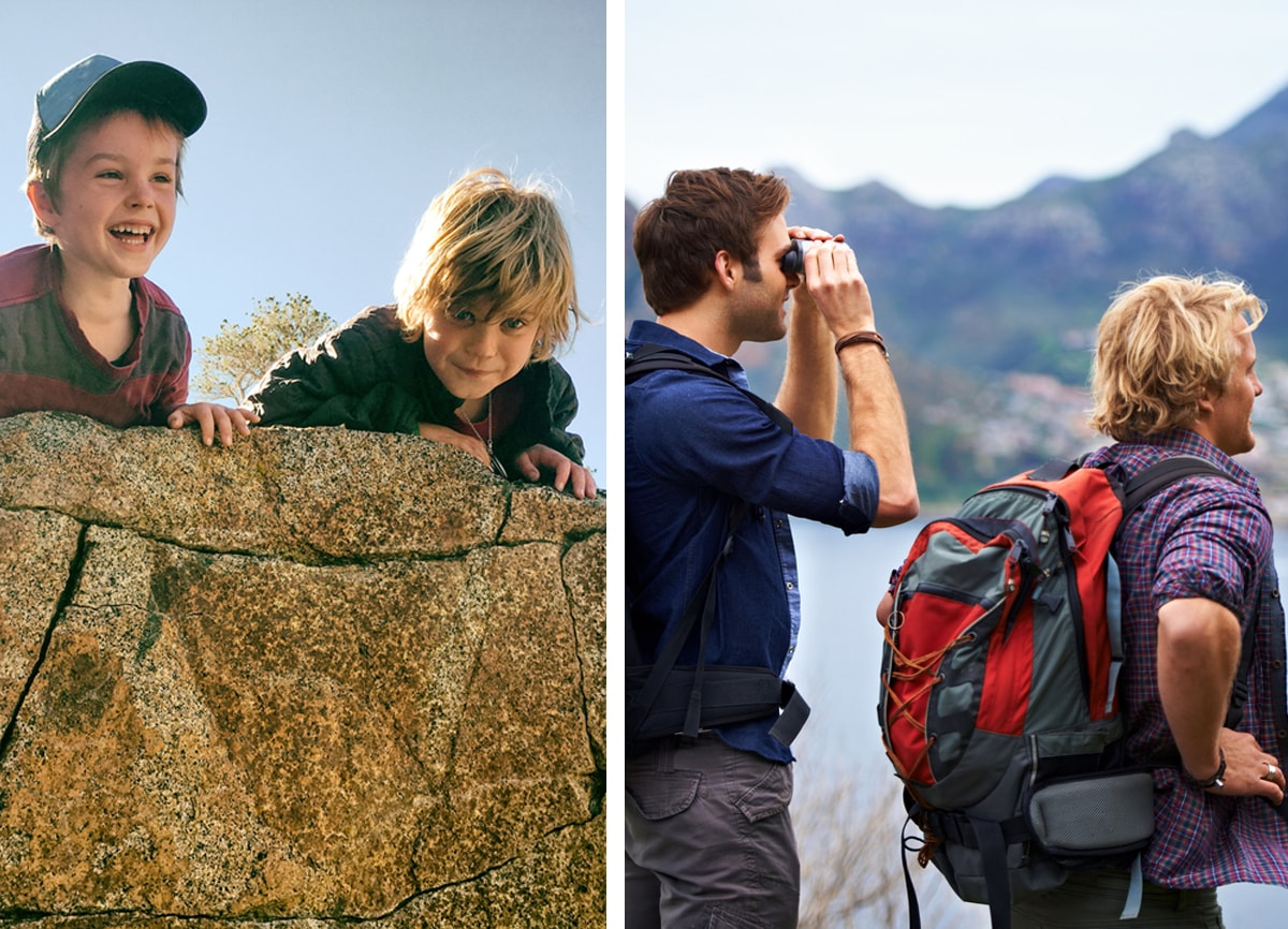 Two photos side by side, the first is of two small boys climbing a rock, the second is of them as adults on a hike.