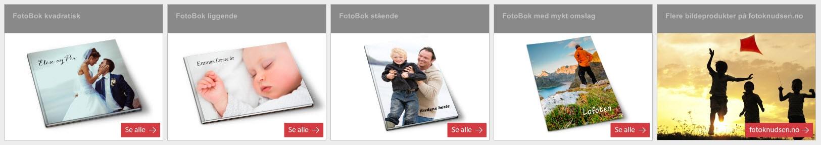 Velg format og størrelse for din fotobok.