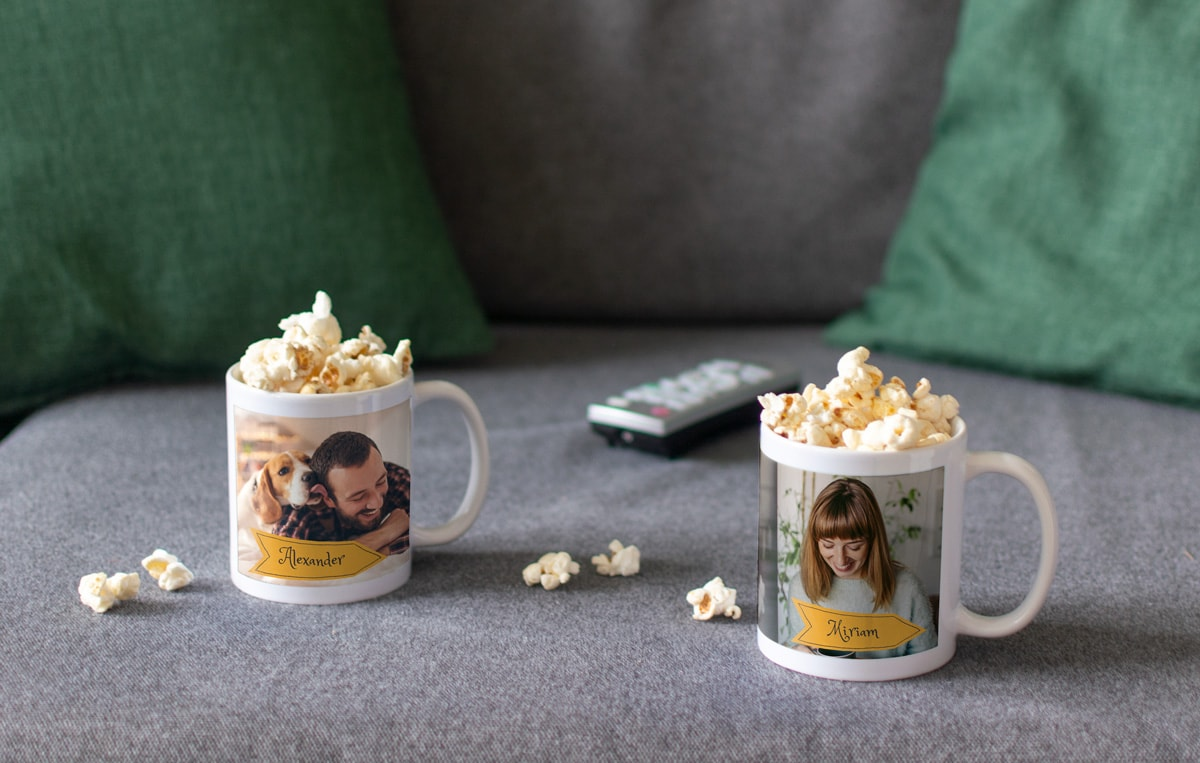 A personalised photo mug made into a gift set with gift bags of chocolate and mini marshmallows