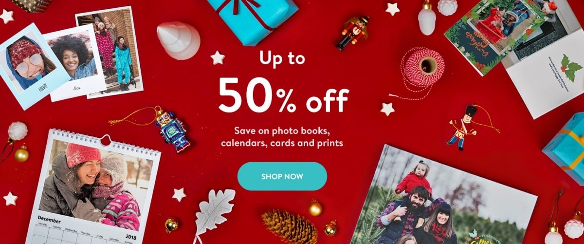 Up to 50% off photo books, calendars, cards and photo prints