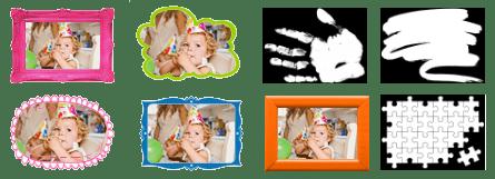 Différents modèles de cadres et de masques