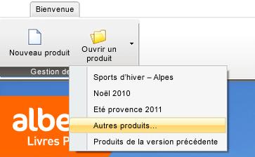 Capture d'écran page d'accueil avec sélection ouvrir un produit autre produit